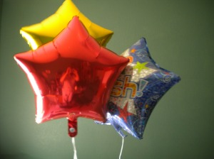 "Ballons a group of readers surprised me with yesterday. The blu one says ""Make a Wish"""