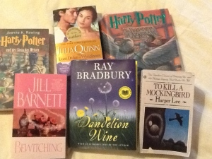 Some (very few) of my favorite books--the ones that were close enough that I could take this pictures quickly.
