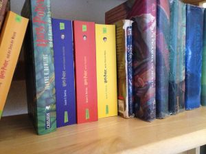 My Harry Potter Shelf--books in German and English
