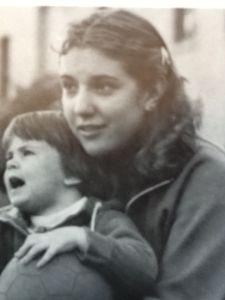 Senior year Gabi, baby-sitting a faculty child at my boarding school.